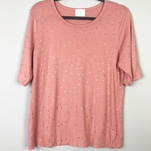 Anthro • T.LA Rose Tee With Gold Polka Dots Size S